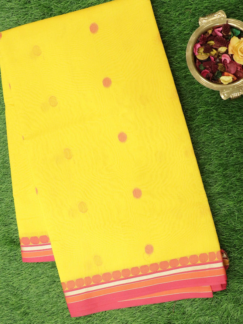 Semi Silk Cotton Saree yellow and pink with thread buttas and golden zari border