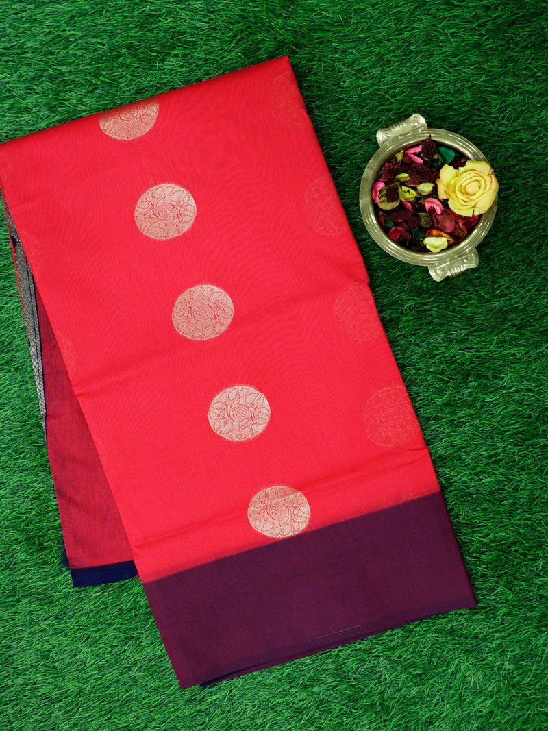 Semi Silk Cotton Saree pink and magenta with golden zari floral buttas and peacock zari butta border