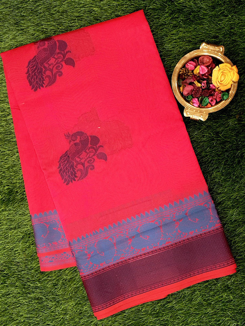 Semi Silk Cotton Saree pink and navy blue with peacock thread buttas and border