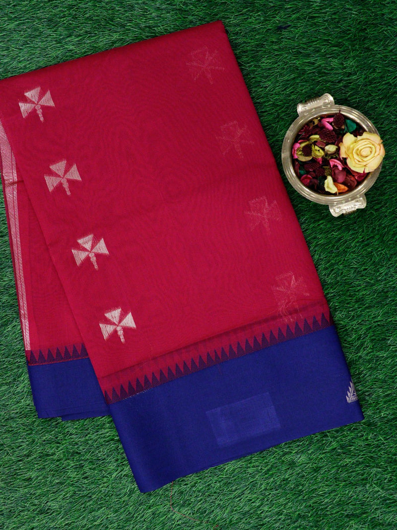 Semi Silk Cotton Saree magenta pink and navy blue with golden zari buttas and geometric zari butta border