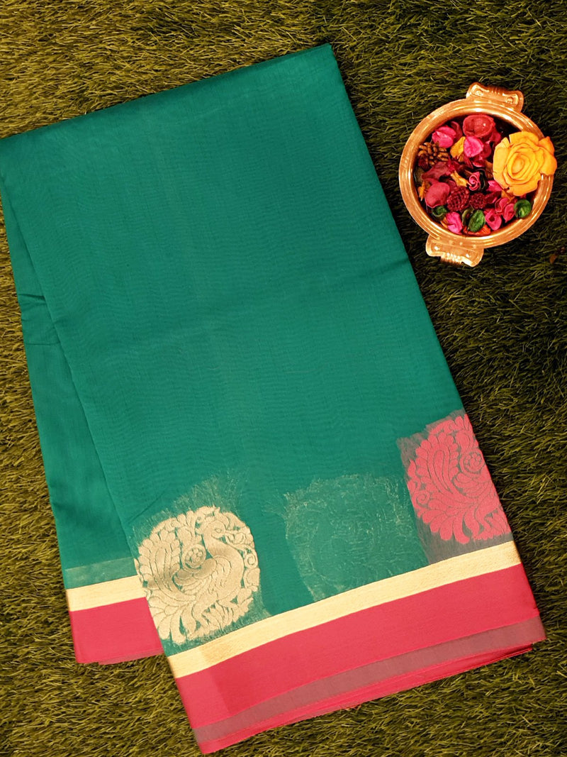 Semi Silk Cotton Saree teal green and pink with thread and zari peacock buttas and zari border