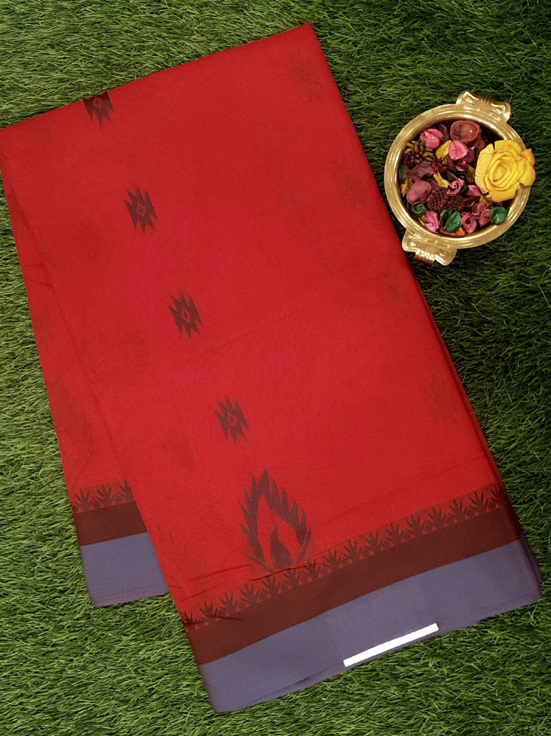 Semi Silk Cotton Saree red and grey with thread buttas and border
