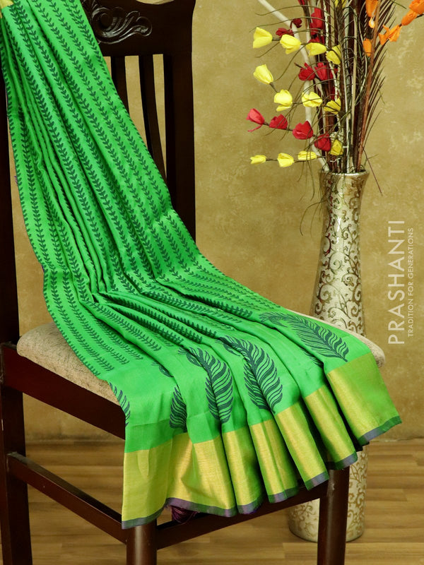 Pure Uppada Block Printed silk saree green and violet with kaddi zari border