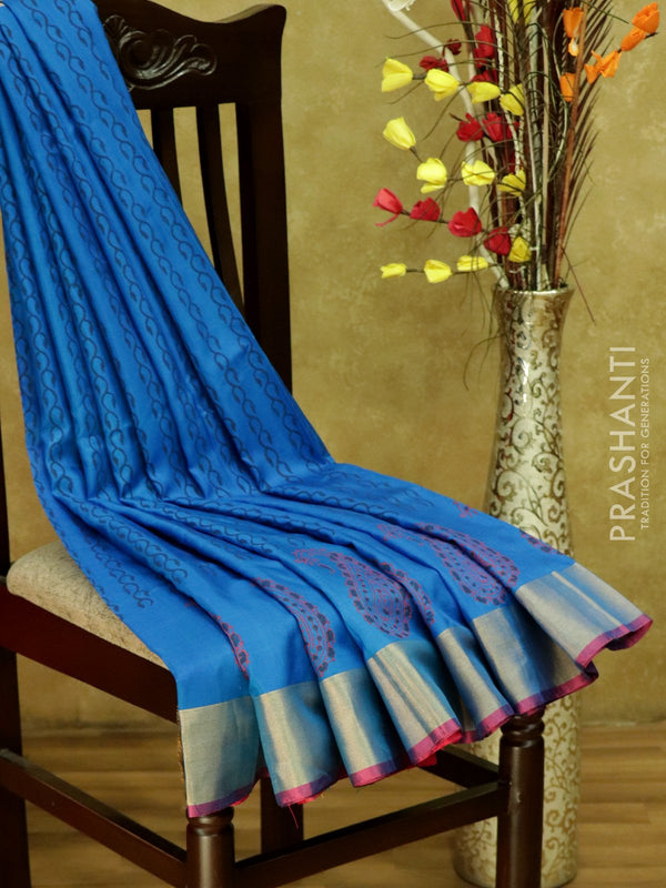 Pure Uppada Block Printed silk saree blue and pink with kaddi zari border