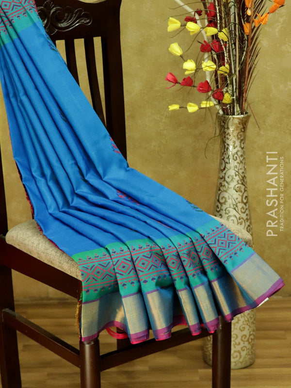 Pure Uppada Block Printed silk saree cs blue and pink with kaddi zari border