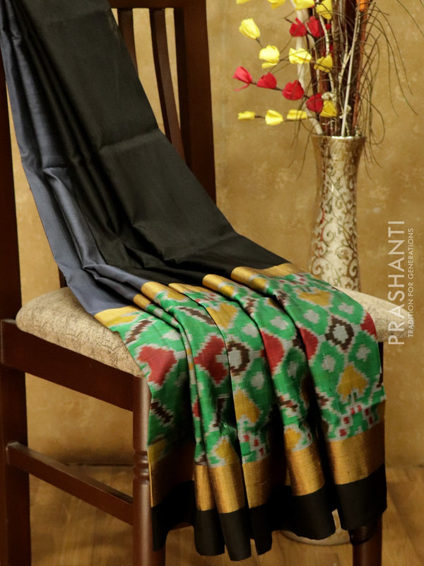 Pure Uppada silk saree grey and black with ikkat woven border
