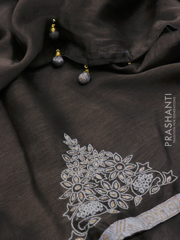 Pure Silk Linen Saree black with floral embroidery