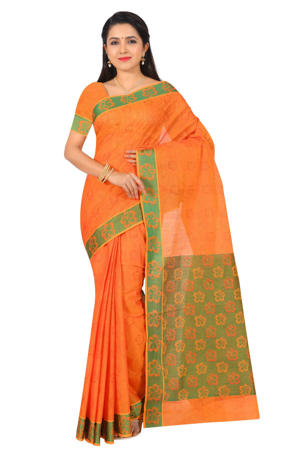 coimbatore Cotton Saree - Orange for Rs.Rs. 1799.00 | Cotton Sarees by Prashanti Sarees