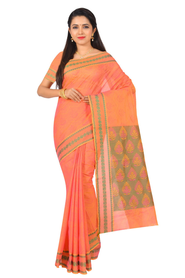 coimbatore Cotton Saree - Light Orange for Rs.Rs. 1799.00 | Cotton Sarees by Prashanti Sarees