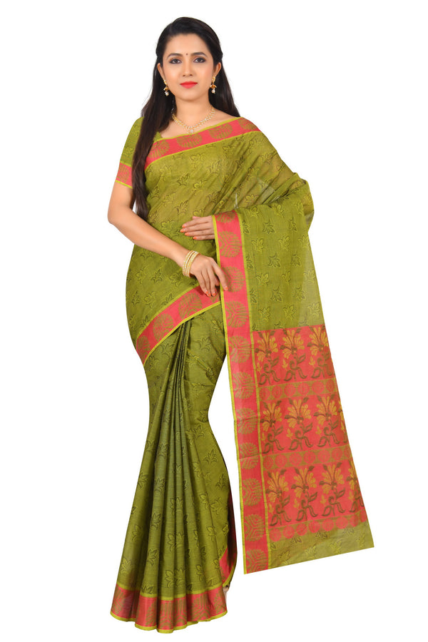 coimbatore Cotton Saree - Olive