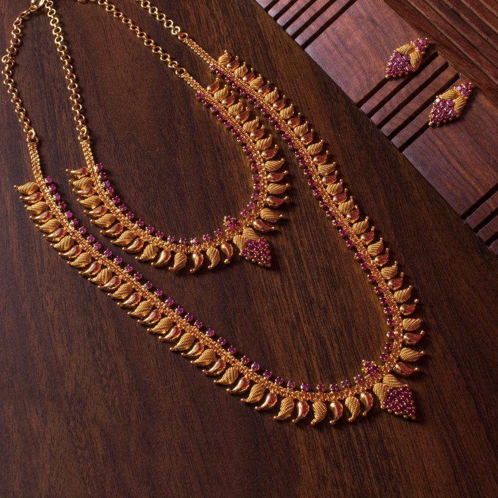 Gold leaf designer necklace set