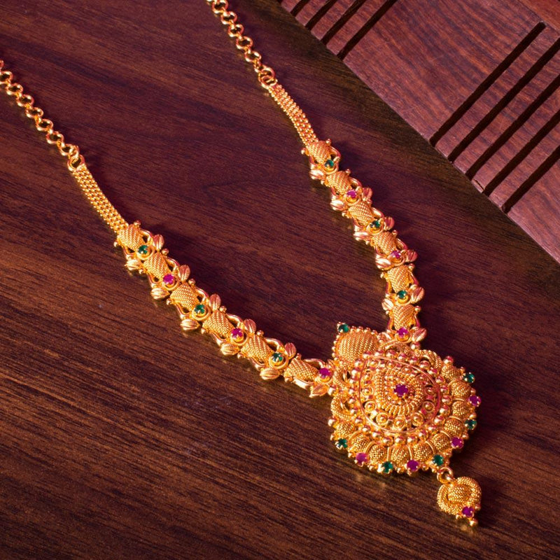 Green pink gold necklace for Rs.Rs. 900.00 | Jewellery by Prashanti Sarees