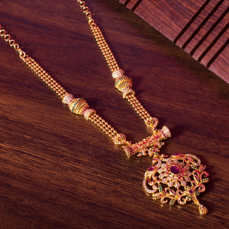 Gold plated ruby necklace