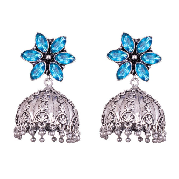 Blue Glass Stone Jhumka Earrings