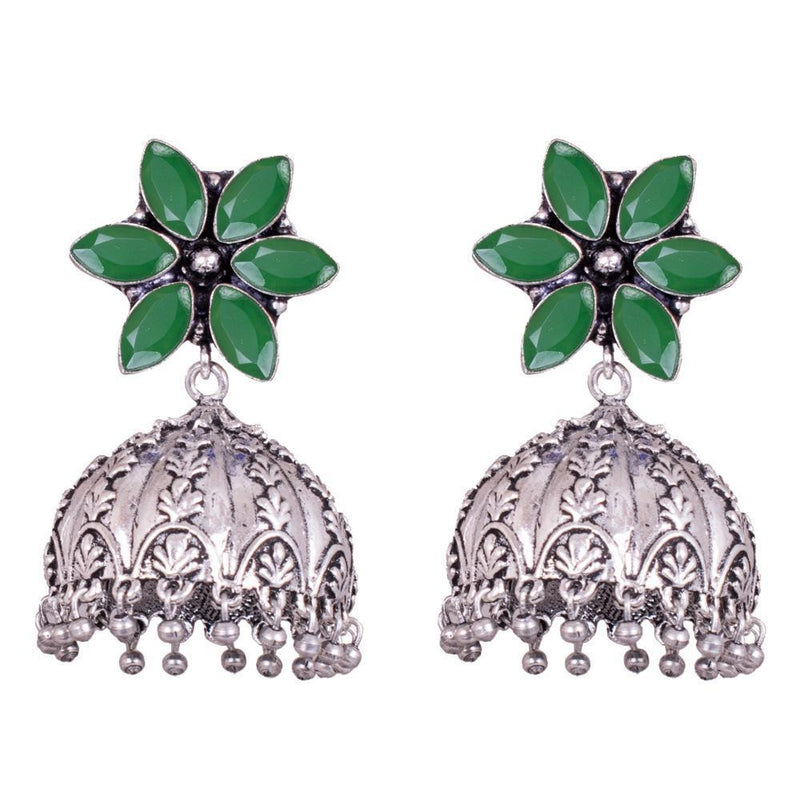 Green Stone Floral Oxidized Jhumka Earrings