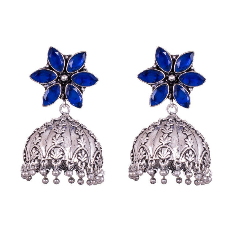 Blue Stone Floral Jhumka Earrings