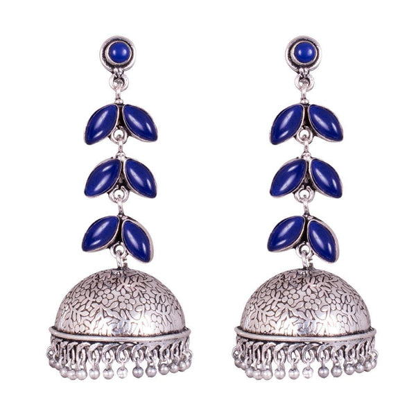 Blue Wonder Stone Jhumka Earrings