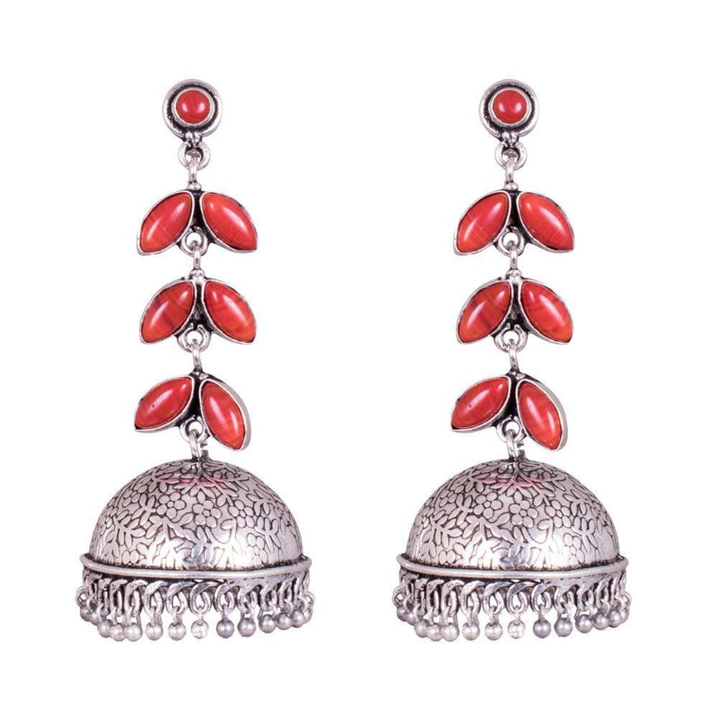 Glowing Red Stone Oxidized Jhumka Earrings