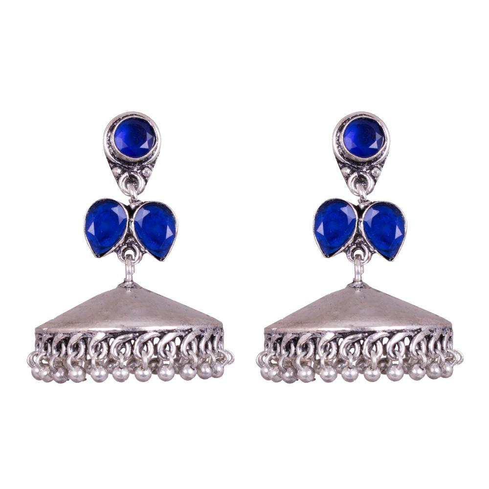 Azure Attraction for Rs.Rs. 300.00 | Jhumkas by Prashanti Sarees