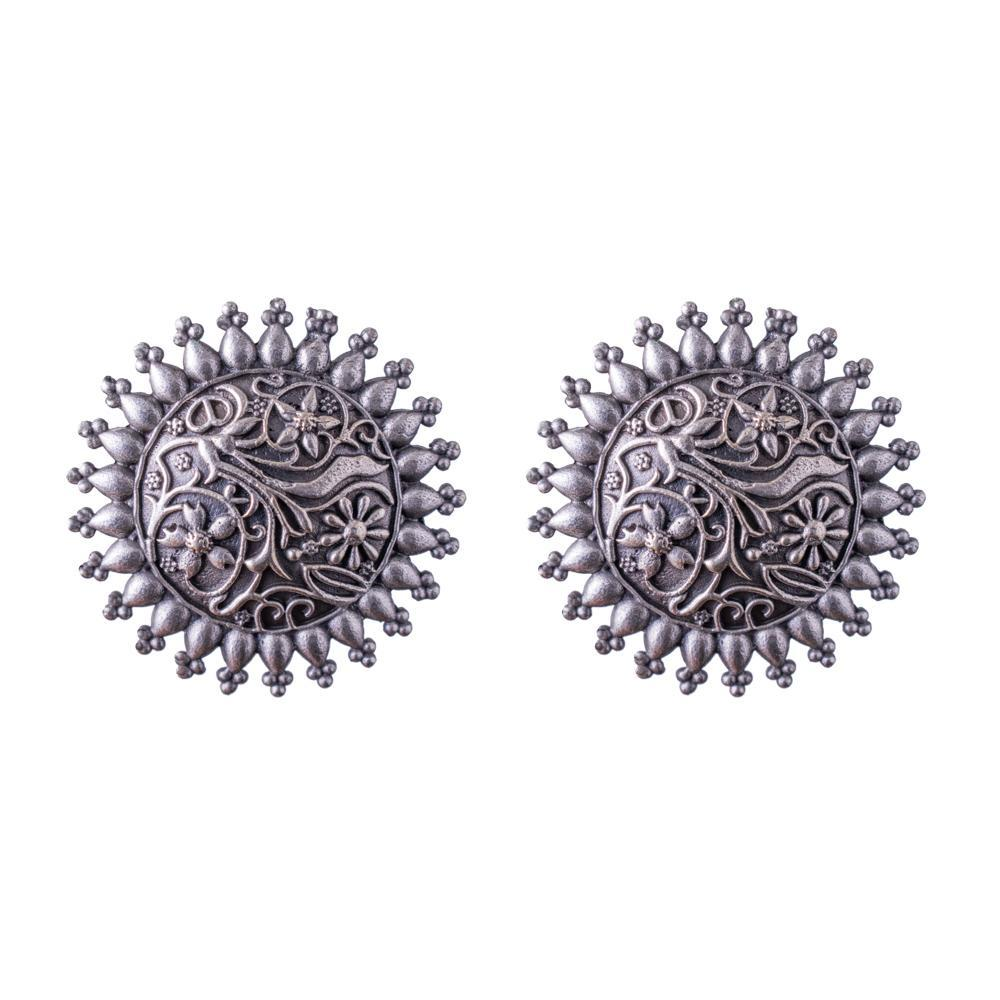 Oxidized circular earrings
