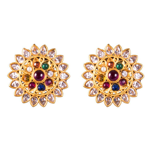 Sparkling Belle Navaratna Earrings for Rs.Rs. 700.00 | Jewellery by Prashanti Sarees