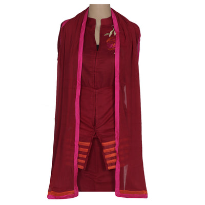 Dress Material - Maroon Soft cotton embroidered suit with shiffon dupatta