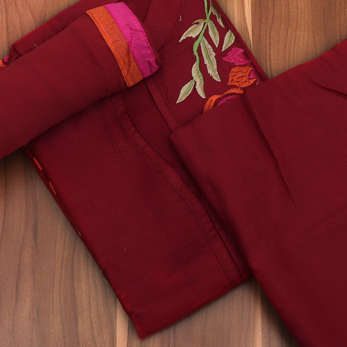 64e93191bf Buy Dress Material - Maroon Soft cotton embroidery suit with chiffon dupatta  at Prashanti Sarees for only Rs. 1,770.00