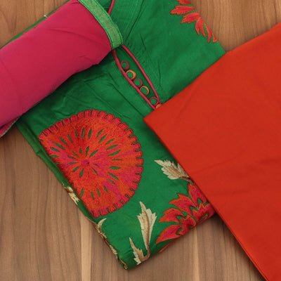 Dress Material - Green and Orange Soft cotton embroidered suit with shiffon dupatta