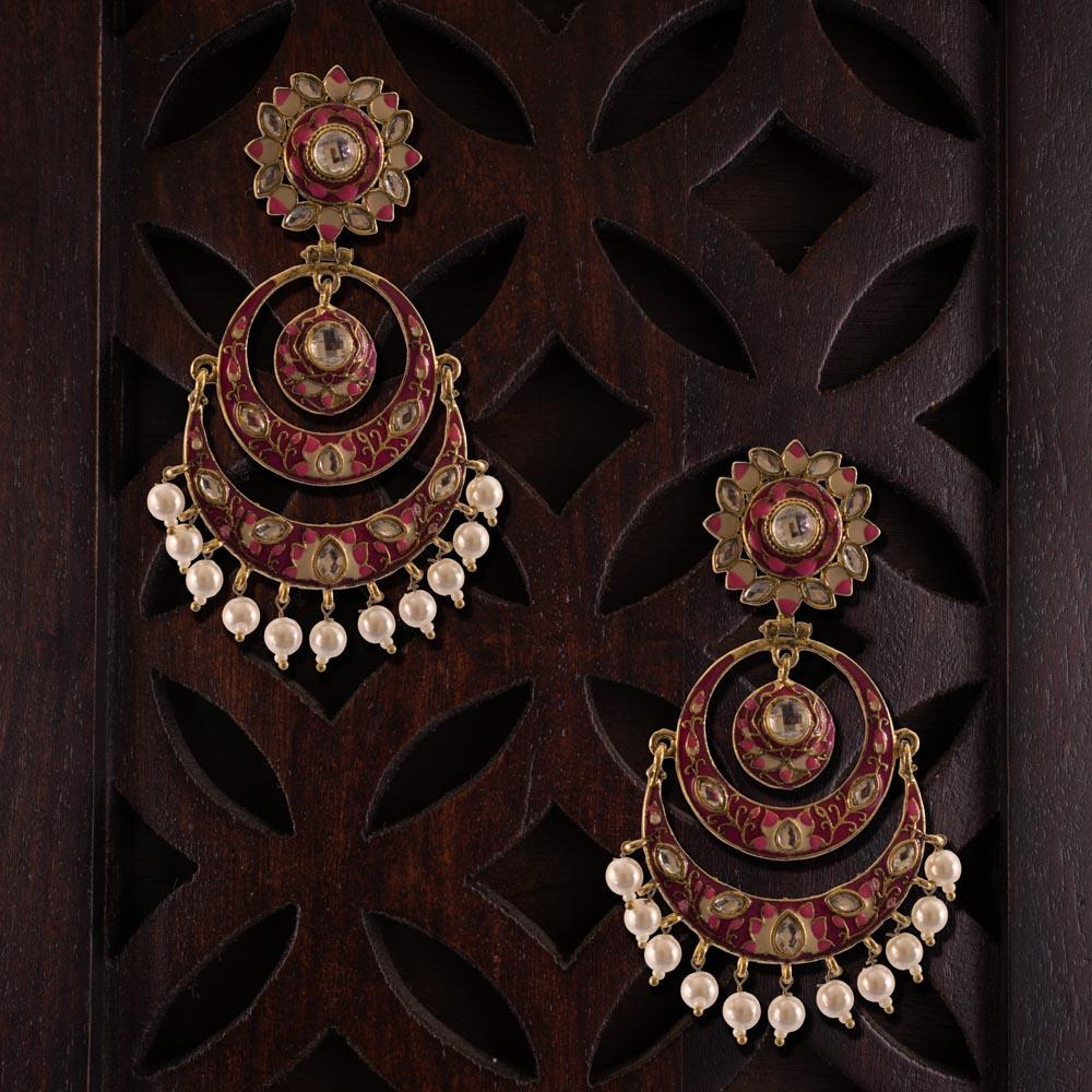 Ethnic red kemp earrings