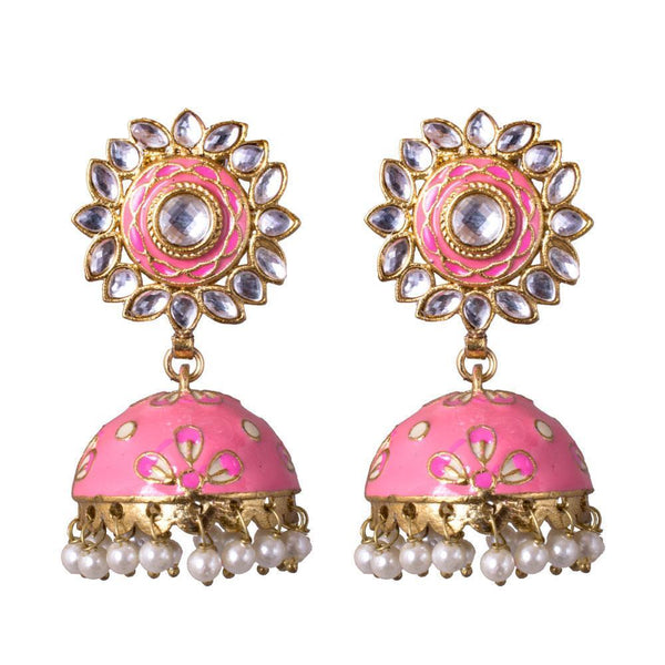 Hand Painted Bright Pink Jhumka Earrings
