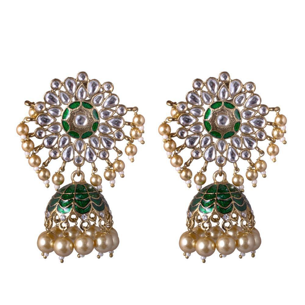 Detailed Kundan Stone Earrings