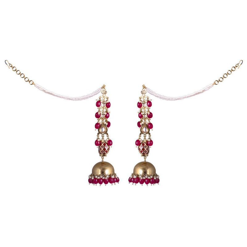 Chunky Red And White Jhumka Earrings
