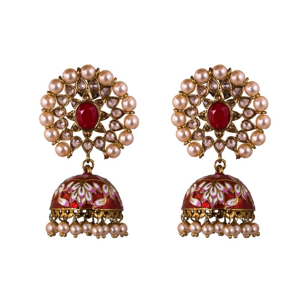 Handpainted bright red jhumkas