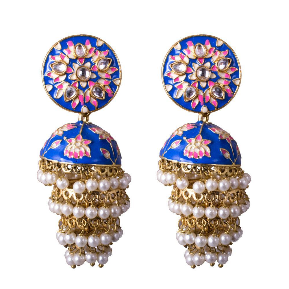 Handpainted blue beaded jhumkas