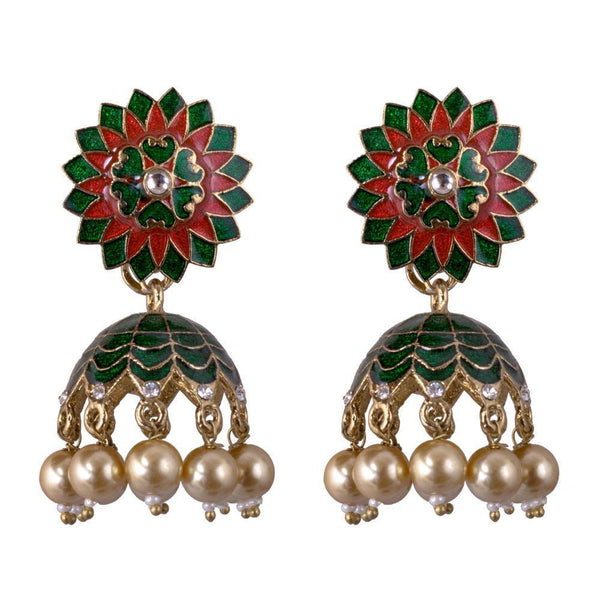 Multicolour Gold Plated Jhumka Earrings