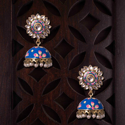 Blue Handpainted Jhumkas