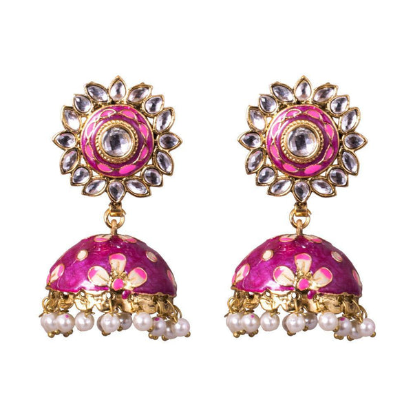 Glamours Purple Floral Painted Jhumkas