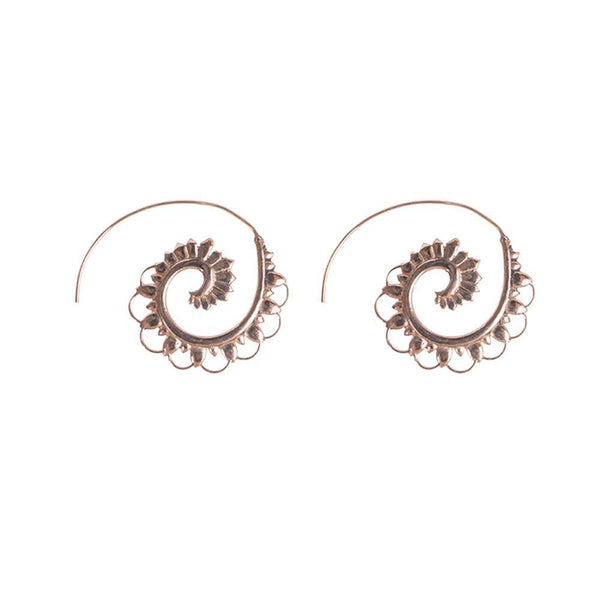 Gold Plated Hoop Floral Earrings
