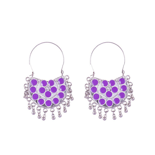 Light Purple Painted Chandbali Earrings for Rs.Rs. 200.00 | Jewellery by Prashanti Sarees