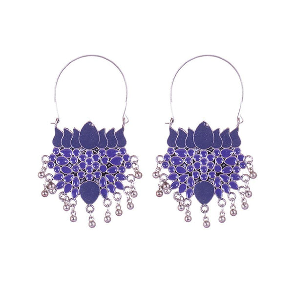 Blue Painted Layered Pattern Earrings