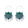 Emerald and lotus layered charm earrings
