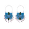 Blue And Black Painted Lotus Earrings