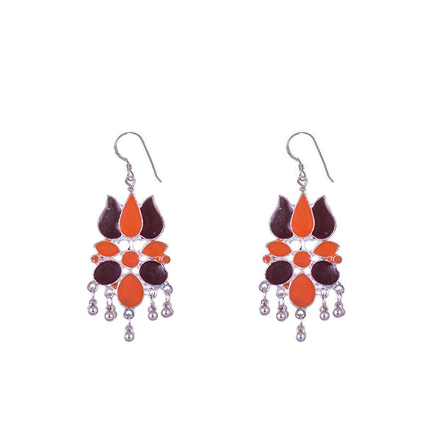 Orange And Maroon Silver Plated Earrings