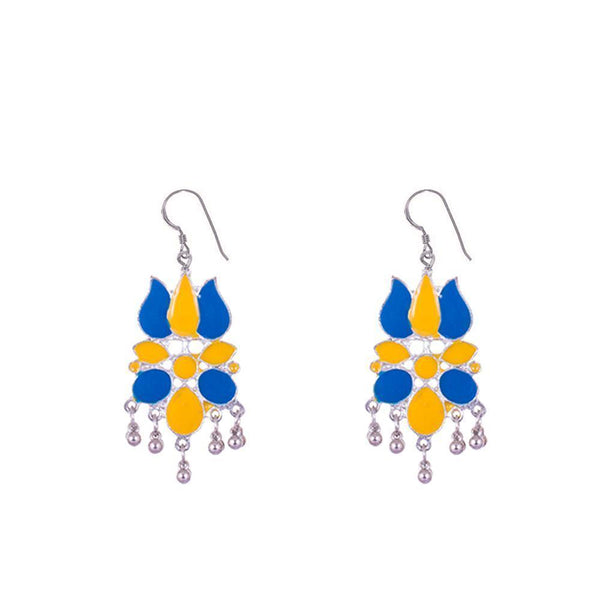 Blue And Yellow Detailed Lotus Earrings