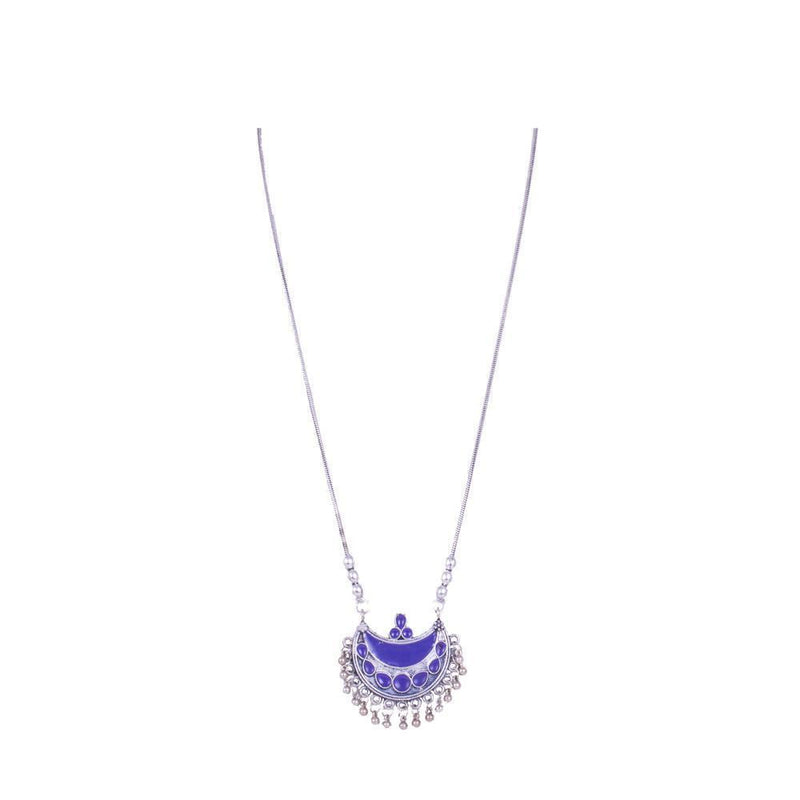 Purple Painted Silver Plated Necklace