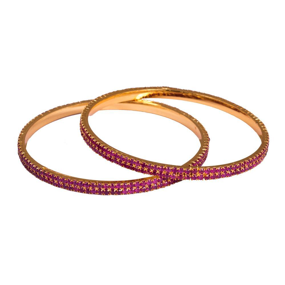 Gld plated ruby bangles for Rs.Rs. 1100.00 | Bangles by Prashanti Sarees