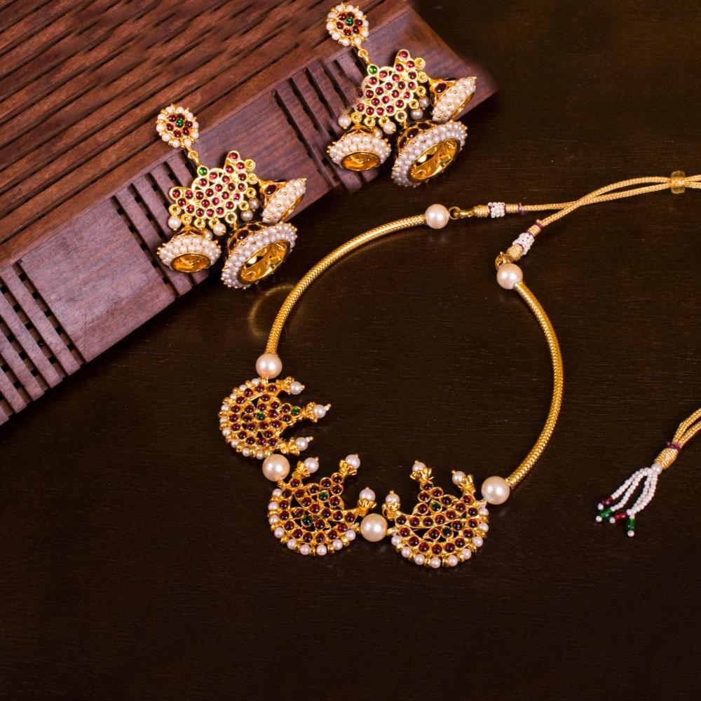 Blossoms of Kemp for Rs.Rs. 900.00 | Temple Jewellery by Prashanti Sarees