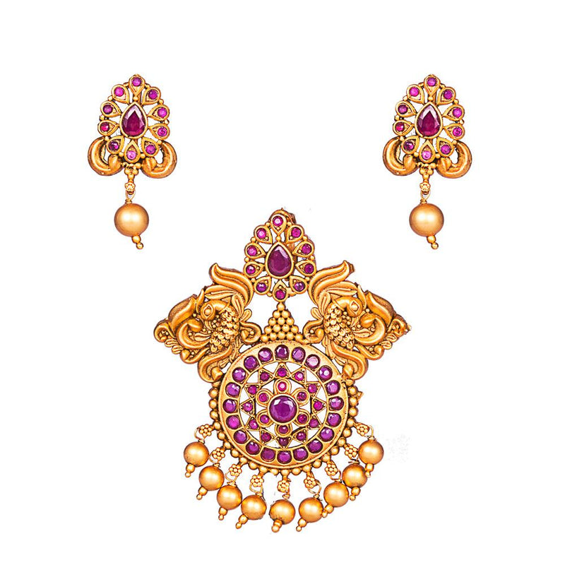 Pink Precious Stone Antique Pendant Set