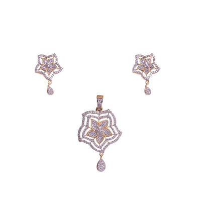 Layered floral glory pendant set