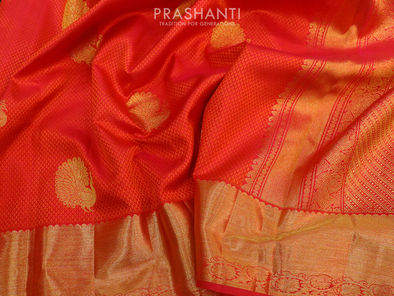 Bridal Kanjivaram Pure Silk Saree pink with self emboss and traditional zari border